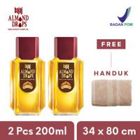 Bajaj Almond Hair Oil Drops (2 Pcs Set 200ml ) - Free Handuk 34x80 cm