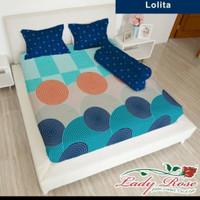 bed cover set sprei FLAT karet uk 180x200 lady rose motif Lolita