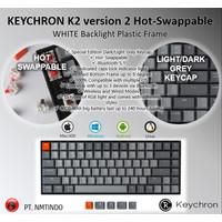 Keychron K2 ver2 Hotswap WHITE PLASTIC Frame Dark - Light Grey Keycap - Brown Switch