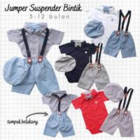 Baju Pesta Bayi Laki Jumper Kaos Kerah Celana Dot Suspender Dasi
