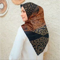 Terbaru !! Hijab Voal Segi Empat Motif Diana Orange Jilbab Voal
