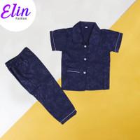 ES - Baju Tidur Piyama Anak-Anak - Set Import - Size M/L/XL - Polos - EMBOS NAVY, L