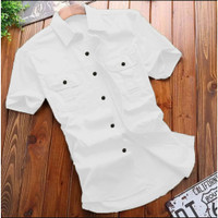 Kemeja Kantor Pria Lengan Pendek   Hem Pria Baju Formal Slimfit polos - Putih, M
