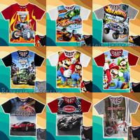 Kaos Baju anak HOT Wheels Mobil Sepeda Ferrari Monster Truck