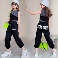 Setelan Baju Crop Top Anak Perempuan Black Gray