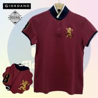 Size L-LD90 Giordano Original POLO SHIRT WANITA Kaos Kerah Cewe Merah