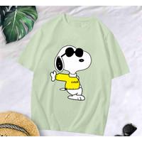 T-Shirt Snop Green XL / Baju Kaos Wanita Oversized Katun Combed 30s