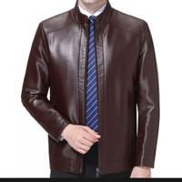 jaket pria kulit asli domba super warna coklat tua asli garut