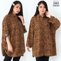 LD130 Kemeja Jumbo Wanita XXXL Baju Hem Bigsize Atasan Motif Kotak - 5063-macan