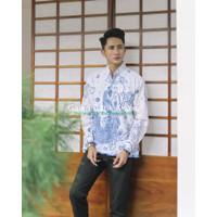 Merak Putih Kemeja Batik Pria Lengan Panjang Atasan Batik By AB - M