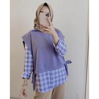 April Blouse 2in1 Baju Atasan Wanita Fashion Muslim Terbaru 2021