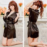 JS Pakaian Tidur Wanita LINGERIE Sexy Women Kimono Sleepwear JS-4019 - Hitam, all size