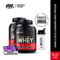 Optimum Nutrition Bundle 100% Gold Standard Whey 5Lbs +5Lbs (10 Lbs ) - Double coklat