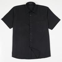 Daily Outfits Baju Kemeja Lengan Pendek Pria Katun Slimfit Hitam Polos