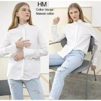 kemeja atasan wanita putih HM original branded murah