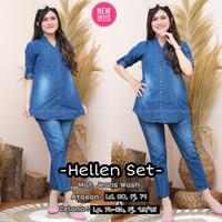 New Hellen Set Setelan Celana Jeans Wanita Modis Casual Baju Hangout