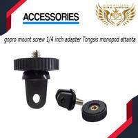 gopro mount screw 1/4 inch adapter Tongsis monopod attanta - Hitam