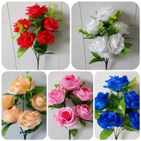 Bunga Mawar Plastik Artificial Dekorasi Backdrop Pelaminan Weding - Merah