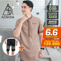 Baju koko Pria lengan pendek + Celana bahan halus model trendy 1 set
