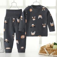 Baju/Piyama Anak Katun Lengan Panjang Kancing Bahu Gambar Hewan AbuAbu