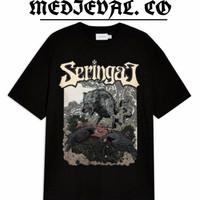 KAOS Band SERINGAI - Baju METAL SERIGALA MILITIA PRIA / TSHIRT / HITAM