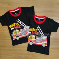 Baju Kaos Atasan Anak Laki Laki Fire Truck Mobil Pemadam Damkar Hitam
