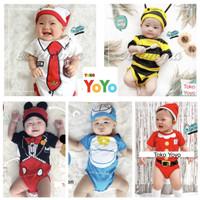 Baju Anak Bayi / Jumper Bayi Motif Karakter Lucu Katun Halus Set Topi
