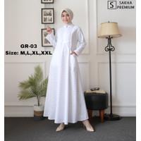 Baju gamis wanita putih lebaran haji umroh modern terbaru