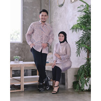 Kemeja Blouse Batik Couple Ruffle Dobby Lasem Broken White Green - Batik Pria, S