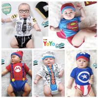 Baju Jumper Anak Bayi Set Topi Motif Karakter Lucu Katun Halus Lembut - Dokter, M