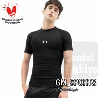 Kaos Manset Baselayer PENDEK pria / baju olahraga running futsal sport