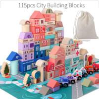City Building Block Wooden Building Block 115 pcs Mainan Balok Susun