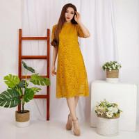 Dress Brukat Wanita Mini Dress Baju Kondangan - Mustard Gold