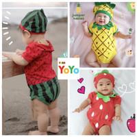 Baju Anak Bayi / Baju Jumper Bayi Baby Set Topi Motif Buah Lucu Halus