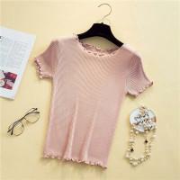 Baju Rajut Kaos Import Wanita Lengan Pendek - pink