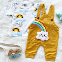 Setelan kaos overall, baju kodok bayi cewek cowok anak perempuan laki