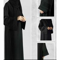 Abaya Dewasa Hitam Turkey Gamis Bordir Jetblack Baju Wanita Muslim