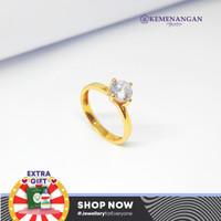 Cincin Emas Model Satu Mata Putih Yellowgold Kadar : 750 %