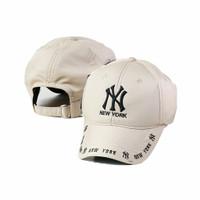 Topi baseball wanita pria / Topi distro bordir New York LA091 Cream