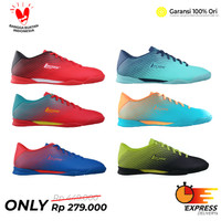 Sepatu Futsal League Legas Attacanti LA Fiery Red Black White Merah Hi