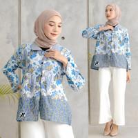 Atasan batik wanita blouse bolero batik kekinian 2021 kode 17 - Biru Muda, M