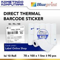 Direct Thermal Sticker / Label Stiker BLUEPRINT 78x100x1 40mm Isi 90