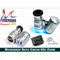 Mikroskop batu sinar senter 60x Portable MICROSCOPE MINI ZOOM 60 x LED