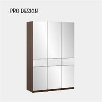Pro Design Inbiz Lemari Pakaian 3 Pintu Full Cermin - Brown Walnut