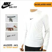 Kaos Base Layer Manset Olahraga Nike Ketat Lengan Panjang Dry Fit - Putih
