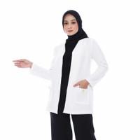 Outerwear Atasan Blazer Wanita Putih Kerja Kantor Casual Muslimah