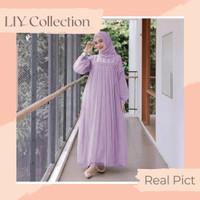 Gamis Dress Wanita Maxi Nuraini Kebaya Baju Lebaran LD 110 - Lilac