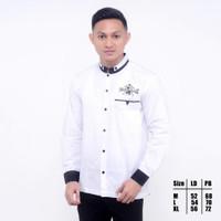 Baju Koko NU /Syubanul muslim / Koko NU bordil terbaru - warna putih - Hitam, M