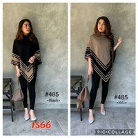 1566 Atasan,blus ponco knit rajut import - mocca, All Size