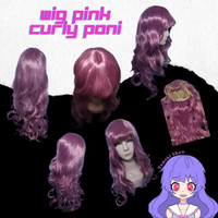 pink wig curly long cosplay